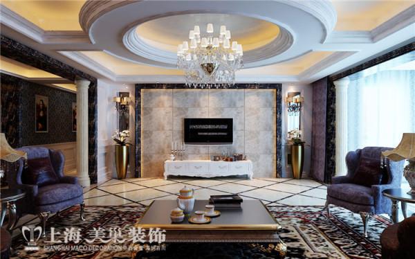 银基王朝别墅装修新古典设计方案——客厅电视背景墙