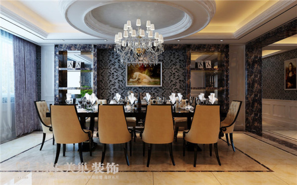 银基王朝别墅装修新古典设计方案——餐厅