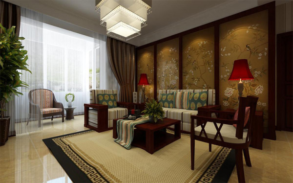 整个客厅沙发背景墙的设计采用木线条与中式古朴壁画结合,配上中式家具的,简约大气的氛围。