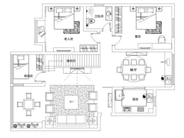 直线装饰在空间中的使用,不仅反映出现代人追求简单生活的居住要求,更迎合了中式家具追求内敛、质朴的设计风格。