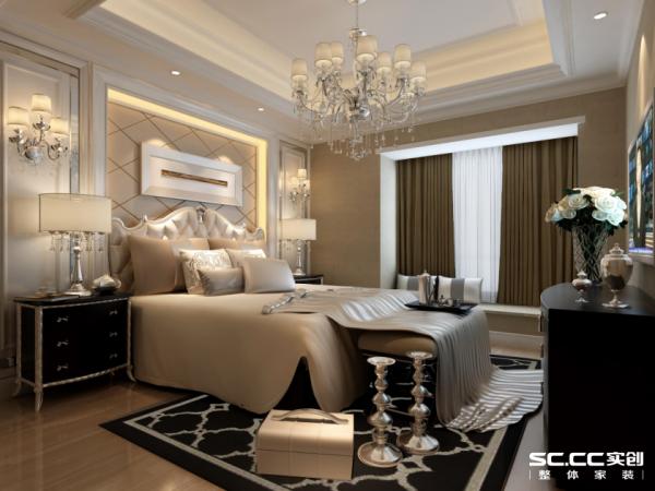 整个卧室被打造成了一个温馨浪漫的居所,在层高充足的情况下,吊顶让空间别有一番风情,床头背景墙使空间更加舒展;