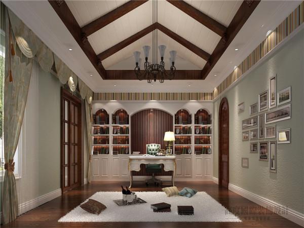 美式家居的书房简单实用,但软装颇为丰富,摒弃传统样板间式的奢华炫目,增添了更多家的温馨味道。