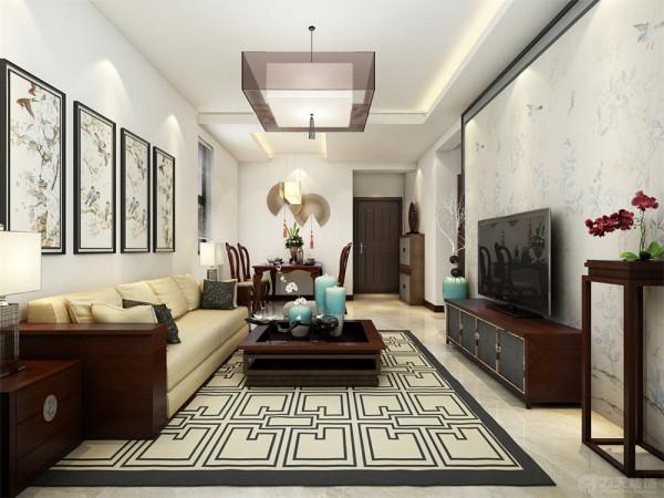 本案在色彩上面以白墙为主色,运用大量的中式元素和家具作为点缀,客厅的背景墙木材收边中间运用中式花纹的壁纸在加上红木的家具与干支完美的结合。