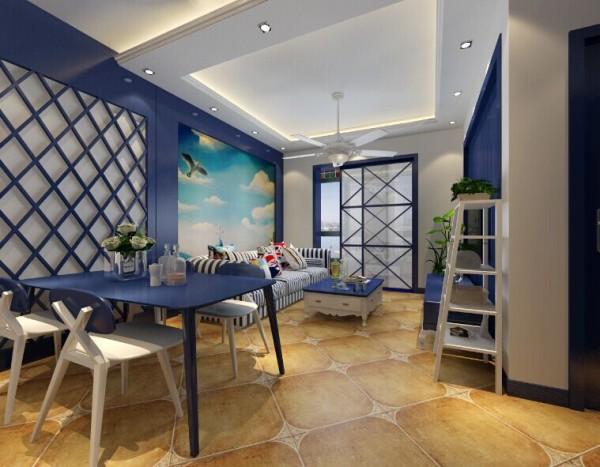 文化石白色与蓝色石膏板的搭配自然淳朴,电视柜更具时尚感,使得地中海又增加了新的视觉效果。