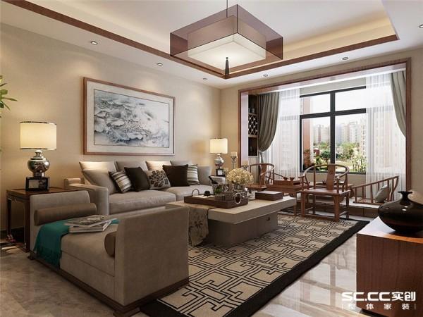 客厅以简洁的石膏板直线造型,暗藏灯带,电视背景墙采用中式雕花隔断结合中式纹样壁纸,简单大方,典雅的沙发和精致的茶几,电视柜给人一种完美典雅享受。