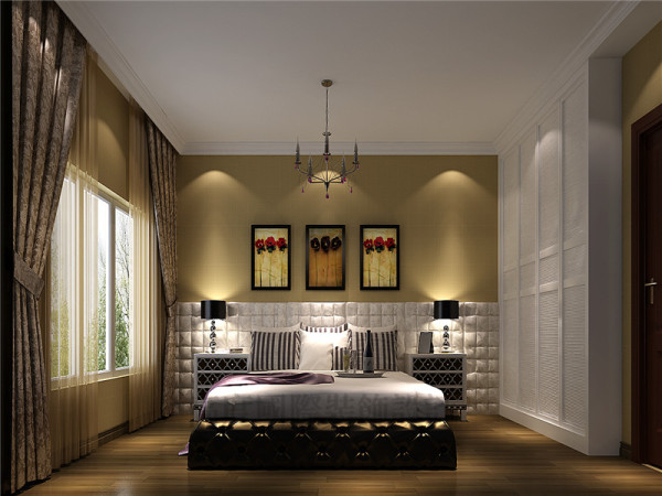 比较注重背景色调,由墙纸、地毯、帘幔等装饰织物组成的背景色调对控制室内整体效果起了决定性的作用。