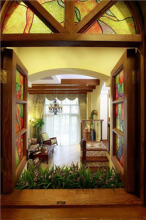 220平米美式乡村复式客厅装修效果图片 装修美图 新浪装修家居网看高清图片