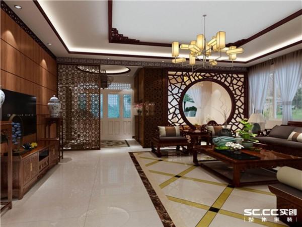 客厅风格以中式为主,亮色的大地砖搭配棕色木质背景墙,提高空间的采光,满足业主对客厅明亮的要  求。