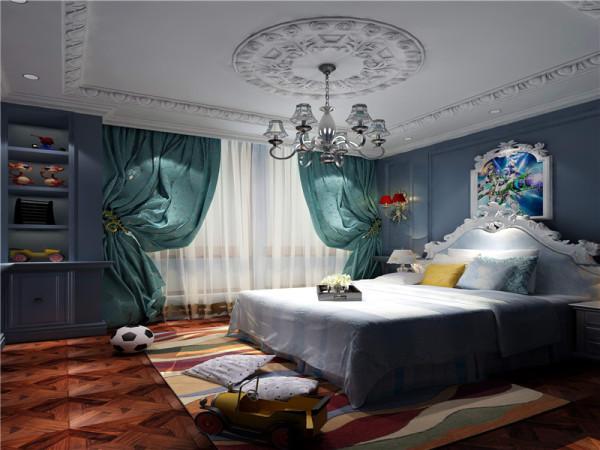 男孩房:运用蓝色、米白等古典常用色来渲染空间氛围,营造出典雅的效果。
