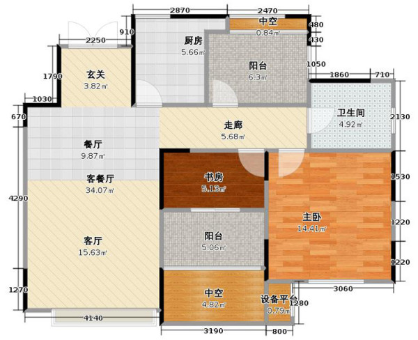 郑州保利海上五月花89平方三室两厅装修效果图
