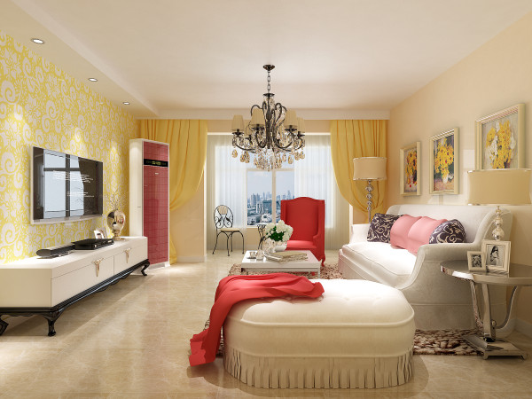 客厅整体采用两边对称壁纸,结合中间部的画框条装饰,给人以视觉感觉的冲击,沙发背景墙采用组合挂画装饰,增加了整个空间的舒适感。
