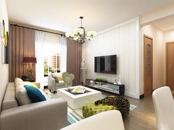 本户型为  伍仟岛2室2厅1厨1卫90㎡,本次的设计风格是现代简约。