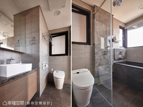 映荷设计利用内凹的畸零区块安排洗脸台,规整尺寸方正的干湿分离卫浴空间。