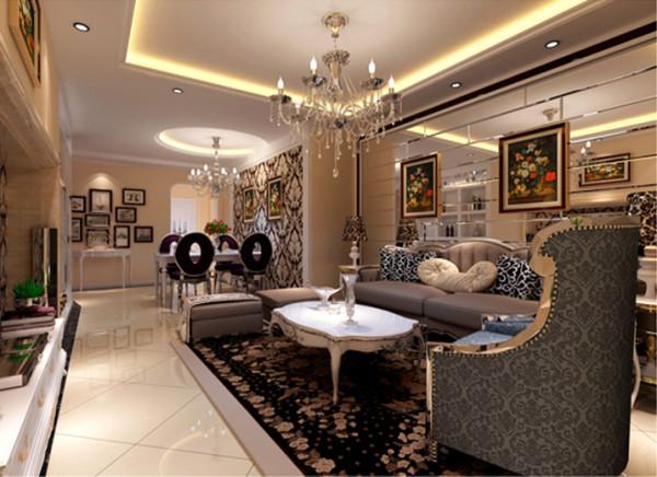 设计理念:华丽的装饰,精美的造型达到雍容华贵的装饰效果,用大型灯池并用华丽的枝形吊灯营造气氛,布艺沙发组合有着丝绒的质感以及流畅的木质曲线,将传统的欧式家具的奢华与现代家具的实用性完美的结合。