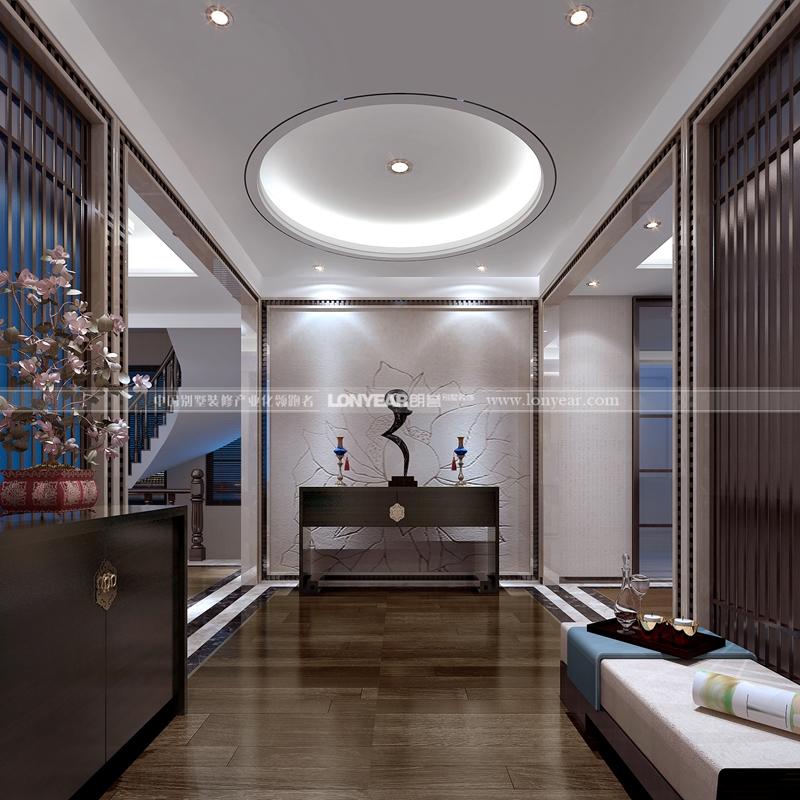 别墅设计新中式风格别墅装修别墅效果图玄关