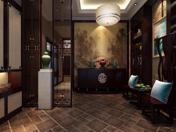 新中式公司玄关_新中式风格  玄关 图片来自西安业之峰装饰 公司 在绿地