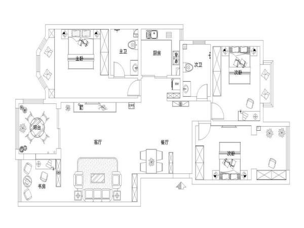 客厅与书房的通道用矮柜做区域划分,时尚又有装饰性。