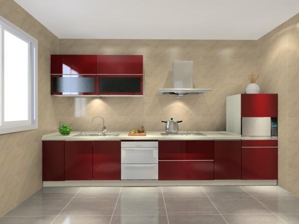 橱柜酒红色的颜色搭配绚丽,一字型的地柜操作流畅,加上黑色磨砂玻璃的吊柜,简约时尚、节约空间,经济实用。