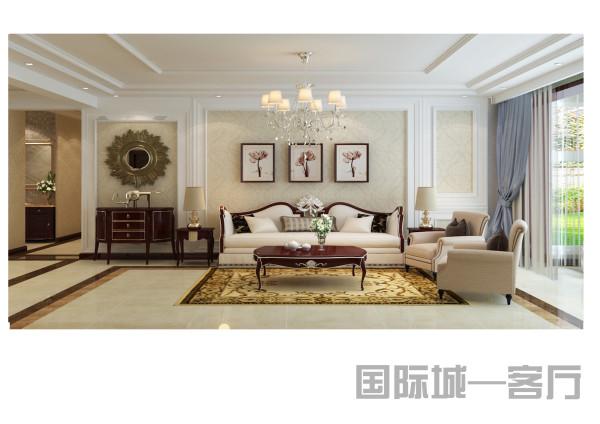 客厅过道餐厅通过深色的波打线有效地划分了功能区域,客厅顶面家里假梁使得过道吊顶更加独立,沙发背景处设立了玄关区域,使空间更加丰富。