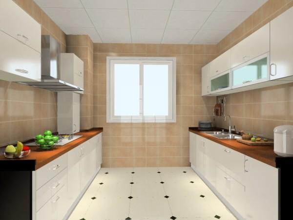 分利用空间,设计了双一字型的柜体,厨房的空间里不仅实现储物空间,还大大利用了空间的实用性。整套厨房白色搭配棕色的实木台面,给人清新又低调的感觉。