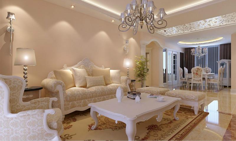 简约欧式田园混搭三居白领收纳80后小资客厅装修效果