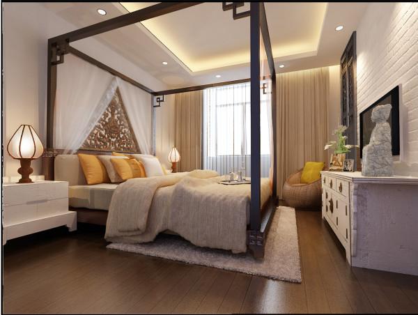 床头造型,卧室的砖墙造型,使人们一下能想起老北京的韵味,起到了画龙点睛的作用。使得整个空间灵动起来。运用屏风,既起到功能区的划分,又不失通透性,这一点在整体的搭配上把握的也非常得当。