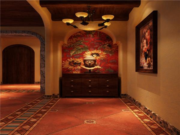 一般而言,进入了户门,就可以欣赏到家居空间中对外的公共部分,在美式的门厅独特的壁画,大理石地面,具有主人自身文化完全展示在你的眼前。
