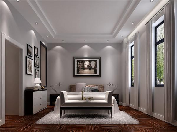 卧室是整套房子中最私人也是最体现出温馨休闲感的空间,在设计时要体现出静谧舒适的感觉,并且与其他空间明显的区别。