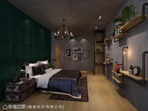 仿古的墨绿色线板墙成为视觉重心,欧映设计以水管造型层板架结合钨丝灯泡取代攀爬的电线,工整中亦展现工业精神。 (此为3D合成示意图)