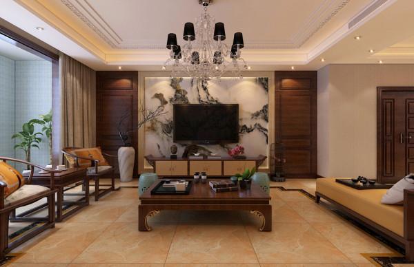客厅电视墙用石材做装饰,山水石的立体感和质感非常好