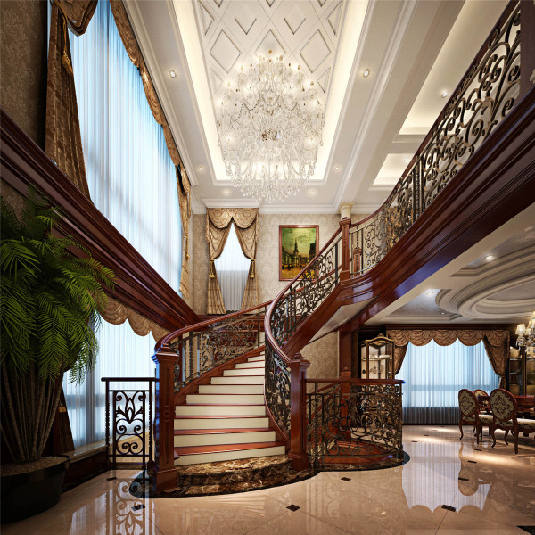 本案在设计中,摒弃了原有楼梯的位置与造型,采取了弧形楼梯的造型,提高了整体空间的通透性、有利于南北通风,以及客餐厅的整体采光效果。