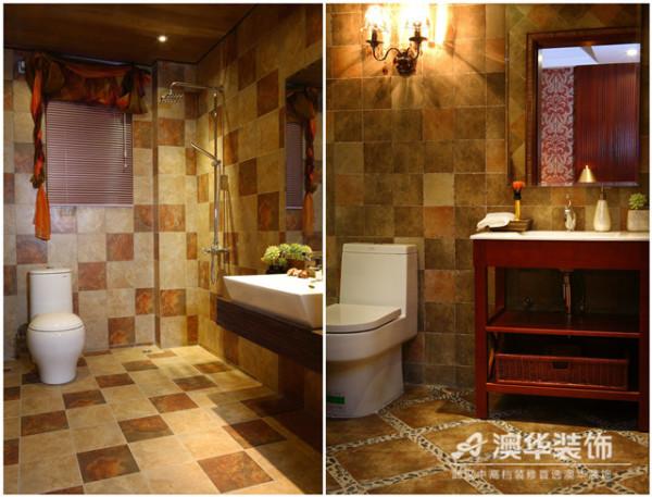 卫生间采用了石材与镜面的设计为其增加了层次变化。空间既无夸张造型,也无繁杂雕饰,只是运用复古墙砖与拼花地砖的材质特点,借助光源的作用,传达出视觉效果与舒适的平衡。