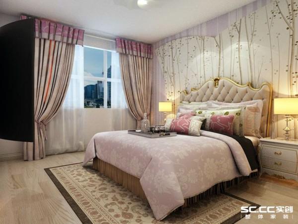 卧室以柔美大方为主,采用藕荷色壁纸和床品打造典雅的居住空间。