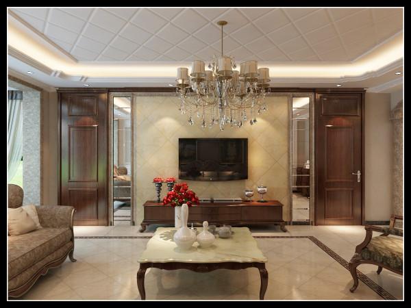 客厅设计具有浓烈的欧式风格特色,采用暖色调的沙发,背景墙在色彩上形成完美统一,渲染出客厅的高贵与奢华 18842415289