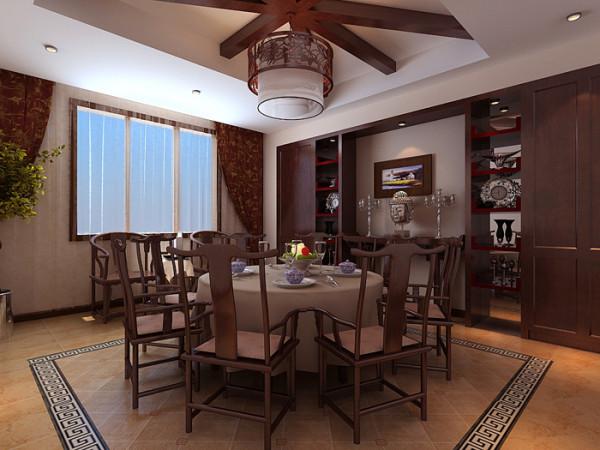 香堂别墅--自建400平户型餐厅效果图