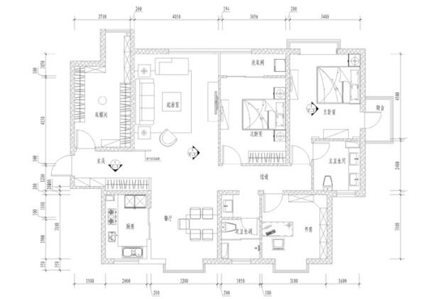 欧陆经典153平--四居室户型平面布局图