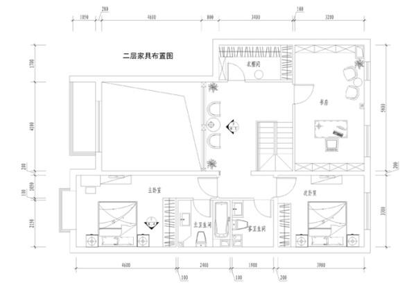 橡树湾240平复式--二层平面布局图