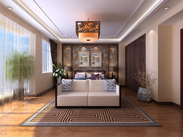 威尼斯花园别墅-280平户型中式主卧效果图