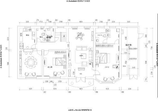 香堂别墅--自建400平户型一层平面布局图