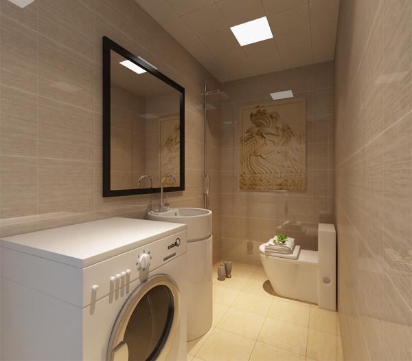 横铺的墙砖拉长了卫生间,使整个空间布局变得宽阔。
