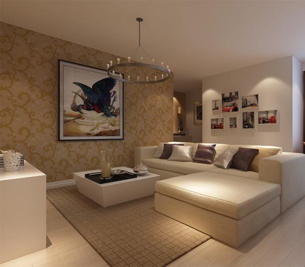时尚的米白色调沙发与电视背景墙的呼应,让整个客厅营造出时尚、高贵、轻松、愉悦的视觉感空间,营造出一个朴实之中的时尚简欧家居设计。
