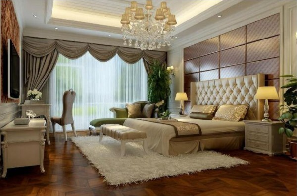温馨的色彩和华美的织物,以及精致的灰色系点缀和软包相互结合,让卧室的氛围充满温馨又不失华贵,更凸显主人对生活品质的追求。