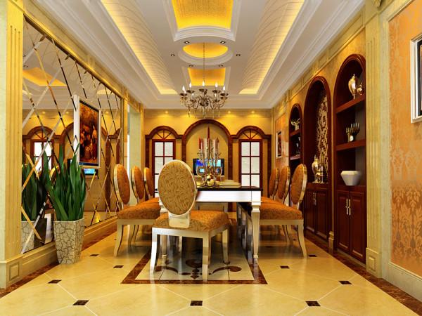 墙面用高档壁纸和大面积灰镜,以烘托豪华效果。