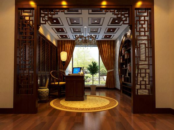 书房大量使用木制家具,透露出淡淡的中国风。
