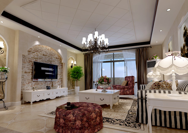 精致的壁灯加复古的壁纸带出浓浓的美式风,油画与精美家具搭配提升美式风格的精致感。裸露墙砖让人眼前一亮,勾缝出美式风格的原始粗犷气质。