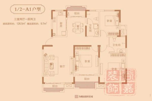 利达国宾中心126.5平方装修方案效果图