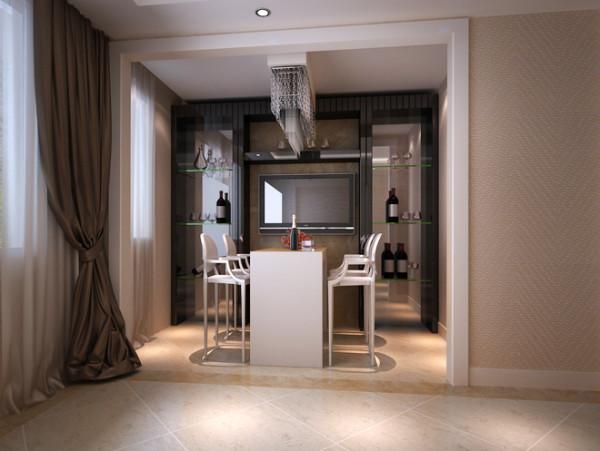 餐厅整体看空间并不宽敞,通过巧妙的镜面拉升效果,使得餐厅在视觉上形成宽敞明亮的感觉。红酒置物架的设计,体现出主人别样的生活品味,让空间也融入了一丝不同的格调。