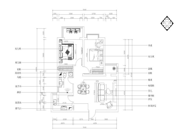 入户左边是餐厅右边是客厅,空间的功能使用不明确,且电视没有地方安放,综合考虑在餐厅于卧室之间新建一堵墙,一可以起到分割空间的功能二可作为电视背景墙来使用。