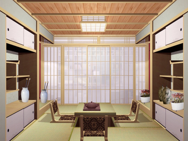 设计说明:这是一款日式的榻榻米设计,既是主人专心阅读的空间,也是接待志同道合朋友的场所。一些植物的摆设,为主人品茶论诗增添了意境