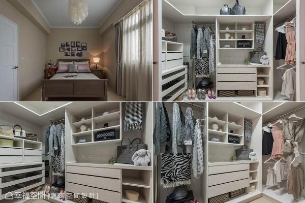 小女儿房以咖啡色为主调,床头规划相片墙,营造出温馨感,并利用精品橱窗式